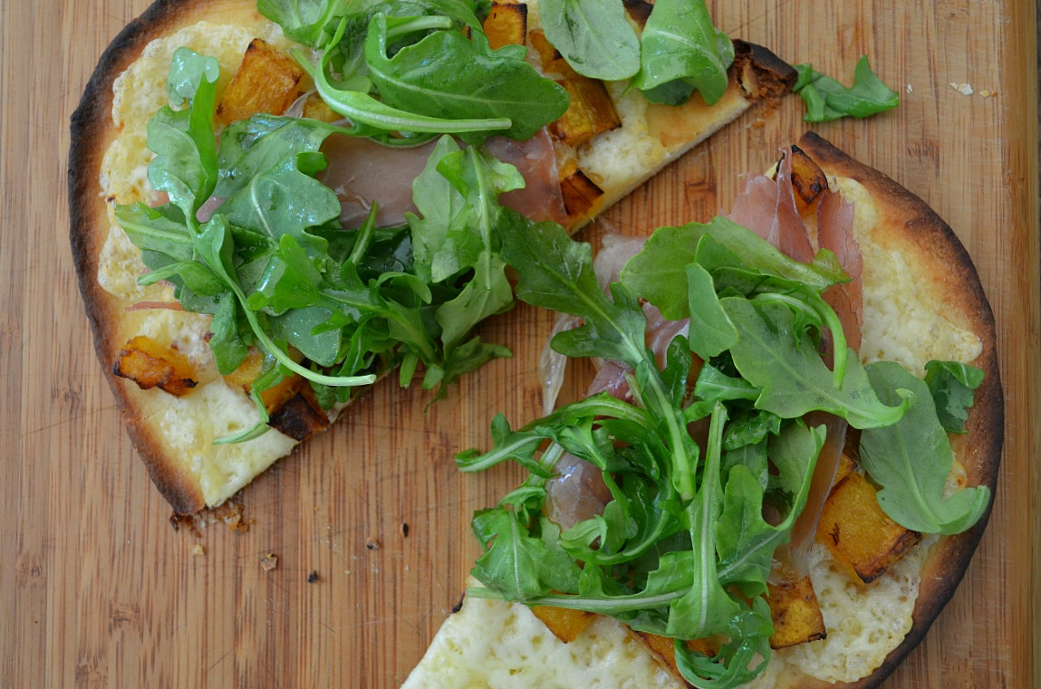 Naan Pizzas with Butternut Squash, Prosciutto, and Fontina